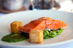 Salmon, fava beans and chickpea fritters on lettuce purée ~ recipe idea
