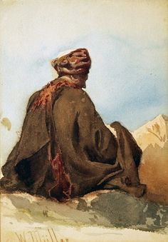 1833 - 1845: 'Native in Turban and Cloak' by William James Muller.