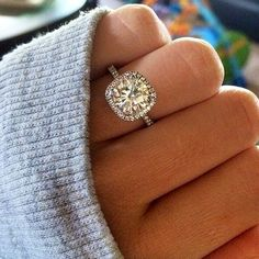 cushion cut halo wedding engagement rings=my dream ring Dream Engagement Rings, Engagement Ring Cuts, Solitaire Engagement, Wedding Engagement, Wedding Bands, Solitaire Diamond, Solitaire Rings, Halo Rings, Square Wedding Rings