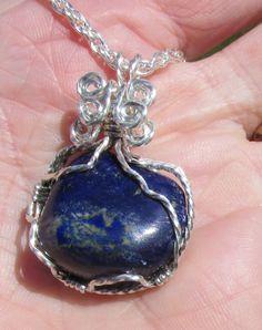 Afghanistan Blue Lapis Lazuli  pendant in Sterling Silver wire by johnchapman3 on Etsy