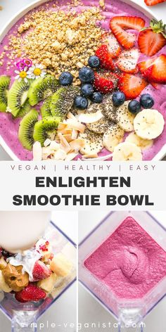 Enlighten Smoothie Bowl is the best made with just 4 ingredients and topped with a variety of healthy toppings! It's an easy, delicious and healthy smoothie bowl recipe bursting with color and flavor! #smoothiebowl #vegansmoothiebowl #healthysmoothie Low Fat Vegan Recipes, Healthy Vegan Snacks, Vegan Meals, Raw Food Recipes, Vegetarian Recipes, Vegan Clean, Raw Vegan, Quick Easy Vegan, Sugar Free Vegan