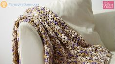 Learn how to crochet the Easy Pleasie Blanket using Bernat Blanket Yarn. It's a very quick afghan project and easy enough for beginners to try. The concept is so easy it's just a V-Stitch of Double Crochet + Ch 1 + Double Crochet.