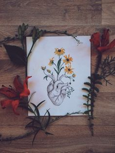 Heart, flowers, anatomy, art, painting Watercolour black-eyed-Susan heart blossom relationship heartbreak skeleton painting medicine drawing human doctor blooming love floral heart nature flower painting anatomy art flowers