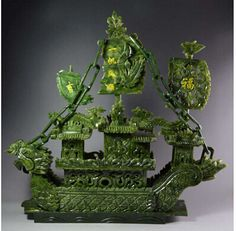 Large China Hand Carved Natural Jade Dragon Incense statue Dragon Boat 一帆风顺 for sale online Le Jade, Chinese Figurines, Jade Dragon, Chinese Art, Chinese Culture, Dragon Boat, Fantastic Art, Stone Carving, Hand Carved