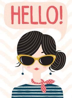 ❤ (๑☌ᴗ☌ ๑)❤                                             hello girl card by hillarybird