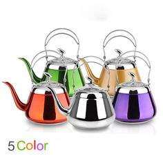 5 Color Selectable Thick Stainless Steel Water  furn Kettle Creative Teapot for Induction Cooker Kitchenware Tool#teapot