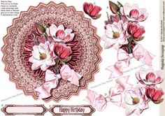 Vintage Magnolia Decoupage on Craftsuprint designed by Sandie Burchell - Beautiful round vintage decoupage with Ruffled Satin and Victorian Satin Bow on a Lace Doily. Sentiments include 'Happy Birthday' or Blank for your own peel-off lettering or stamp. Please take a look at my other designs by clicking on my name. - Now available for download!