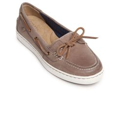 Sperry Bark Harborstroll Boat Shoe ($60) ❤ liked on Polyvore featuring shoes, loafers, bark, deck shoes, sperry top-sider, boat shoes, traction shoes and memory foam shoes