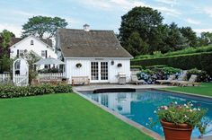 I'm in love with this home, actually this is the pool house, in Wainscott, NY  via Saunders Realty
