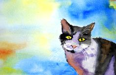 Catnip Overload  This is a watercolor of my cat Sarah after too much of that special herb. Watercolor by Lynda Nolte