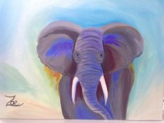 Elephant. Zoe Kelly-Soldner. Abstract oil on canvas.