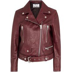 Womens Biker Jackets Acne Studios Mock Oxblood Leather Biker Jacket ($1,690) ❤ liked on Polyvore featuring outerwear, jackets, red biker jacket, zipper leather jacket, zip jacket, genuine leather jacket and red moto jacket