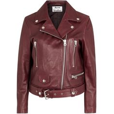 Womens Biker Jackets Acne Studios Mock Oxblood Leather Biker Jacket (£1,095) ❤ liked on Polyvore featuring outerwear, jackets, coats, coats & jackets, red leather jacket, moto jacket, asymmetrical zip jacket, real leather jacket and biker jacket