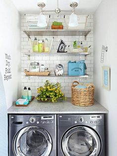 Small space http://www.bhg.com/rooms/laundry-room/makeovers/small-space-laundry-room-storage/?socsrc=bhgfb0318131