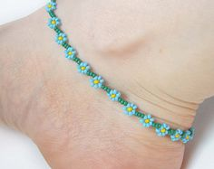 Flower Anklet Seed Bead Ankle Bracelet Turquoise Anklet