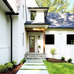The Best White Paint Colors for Exteriors - Plank and Pillow Best White Paint, White Paint Colors, White Paints, Painted Brick Exteriors, Building A Porch, Diy Porch, Porch Ideas, Exterior Paint, Curb Appeal