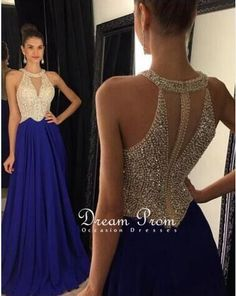 Modest prom dress long, unique beading navy blue prom dress for teens, plus size prom gown, plus size long evening dress 2016