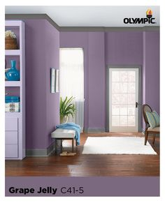 Color Tip : Purple walls are gorgeous & sophisticated when paired with more neutral organic colors, such as creams & beiges. Incorporating purple paint can bring a touch of refinement to more casual décor. Purple Paint Colors, Wood Stain Colors, Purple Walls, Olympic Paint, Casual Decor, Paint Cans, New Room, Modern Rustic, Neutral