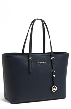 $298, Navy Leather Tote Bag: MICHAEL Michael Kors Michl Michl Kors Saffiano Leather Tote Navy. Sold by Nordstrom. Click for more info: https://lookastic.com/women/shop_items/89850/redirect