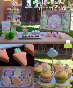 Easter marshmallow dessert table - cupcakes, eggs, bunny art and more!