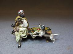 "na bronze Orientalist man & dog sculpture, original painting. 2"" H x 2 3/4"" W."