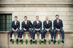 "When Phil asked each of his groomsmen if they liked wearing awesome socks instead of boring socks, each one of them said, ""I do."" Sockscribe.me"