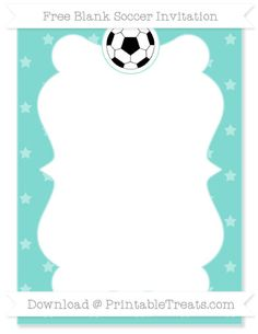 Free Tiffany Blue Star Pattern Blank Soccer Invitation