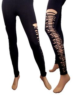 SALE Ripped Slashed Shredded Weaved Tribal Post Apocalyptic Or Pure Black  Leggings .U Pick