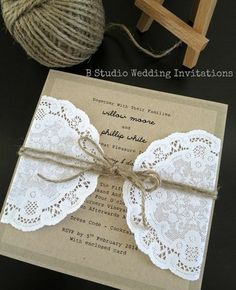 Peach background for invite with lace and twine tie is an option but I think I like best with burlap too