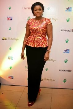 Omotola Jalade-Ekeinde spotted at the EiE Charity Auction in Lagos African Blouses, African Lace Dresses, Latest African Fashion Dresses, African Dresses For Women, African Print Fashion, African Attire, African Wear, African Prints, African Style