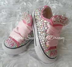 Bling Shoes, On Shoes, Me Too Shoes, Baby Shoes, Bling Bling, Pageant Shoes, Custom Converse Shoes, Christmas Baby Announcement, Baby Bling