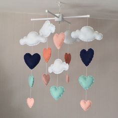 Baby mobile - Cot mobile - clouds and hearts - Cloud Mobile - Baby girl mobile - Navy, mint, peach/coral by EllaandBoo on Etsy https://www.etsy.com/listing/231279776/baby-mobile-cot-mobile-clouds-and-hearts