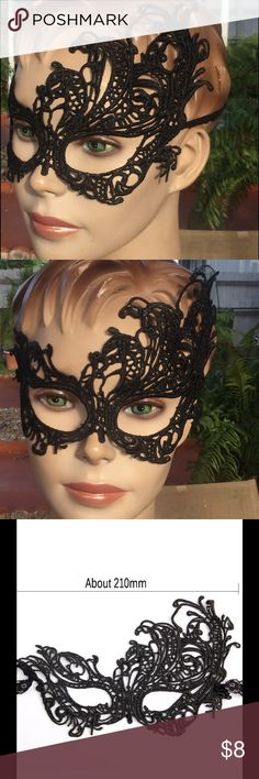 Masquerade Mask sexy black costume New!!! NEW Mask is secured with two quality ribbon ties for easy wear and adjustment. Created with very light-weight quality materials for long hours of comfortable wear. Excellent choice for Prom, Wedding, Fashion Shows, Mardi Gras, Costume, Dance Parties, Mask Events & More Accessories
