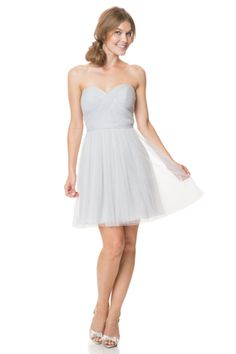 Bari Jay Bridesmaids | Bridesmaid Dresses -- Style EN-1500-S -- SHORT Shirred sweetheart bodice, natural waist gown. Comes with simple removable self tie belt.