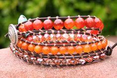 Orange Jade Agate Turquoise Gemstone Leather Boho by MissieRabdau, $75.00