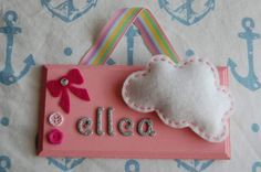 Personalised felt Cloud Name sign / plaque. Any by FairylandDecor