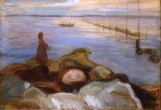 Edvard Munch, Woman by the sea in Ǻsgårdstrand