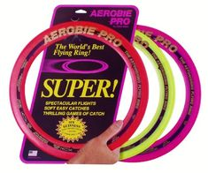 Aerobie Pro Ring - Set of This ring features soft rubber edges for comfortable catches and awesome throws. Assorted Colors (May not receive 3 colors pictured). The Pro Ring set the Guinness World Record for the farthest throw. River Sports, Lawn Games, Guinness World, Rings Cool, Sports Games, World Records, Cool Toys, Kids Playing, Maya