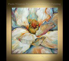 Acrílico y Magnolia grande óleo sobre lienzo espátula original