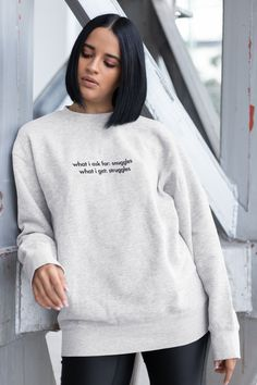 hoodie, pullover, sweatshirt, text, design, streetstyle, funny, sarcastic, humor, meme, struggles, snuggles, cuddling, cuddle, teenager, couple, love, relationship Sweatshirt Dress, Grey Sweatshirt, Crew Neck Sweatshirt, Graphic Sweatshirt, Pullover, Hoodie, Rosa Parks, Atlanta, Brunette Woman