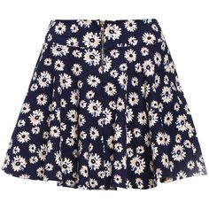 Daisy Print Zipper Skirt ($9.99) ❤ liked on Polyvore featuring skirts, mini skirts, bottoms, faldas, saias, black, black zipper skirt, zipper skirt, floral skirt and a line skirt