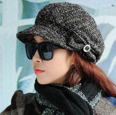 Bow newsboy caps for women autumn winter wool hats