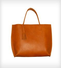 Large Ginger Leather Tote Bag / A Merrier Carrier