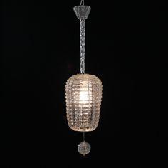 Lampadario classico trasparente anni 50 in vetro lavorato. Comprensivo di 2 lampadine goccia trasparente 60W E27.