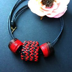Fancy bright Red & Black Chunky necklaces Necklaces Modern