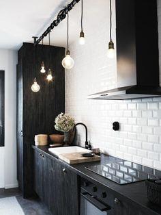 bathroom lights?/white subway tile, black ikea cabinets, ... | Nella ...