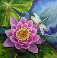 Water Lily and Dragonfly