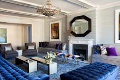 Living Room in Blue & Grey