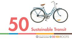 """50, Sustainable Transit, San Francisco Climate Action, 0 50 100 ROOTS,"" with an image of a bicycle"