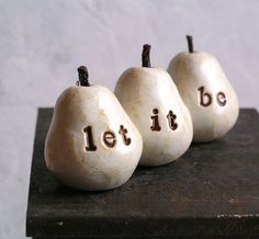 let it beThree handmade polymer clay pears  Word Pears by SkyeArt, $21.00